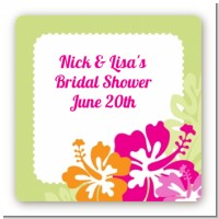 Hibiscus - Square Personalized Bridal Shower Sticker Labels