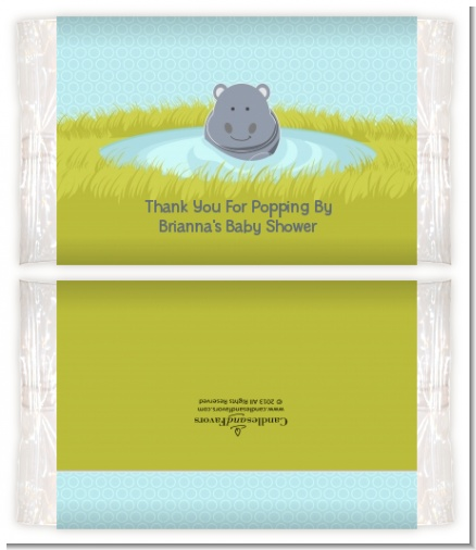 Hippopotamus Boy - Personalized Popcorn Wrapper Baby Shower Favors
