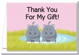 Twin Hippo Girls - Baby Shower Thank You Cards