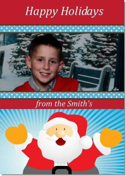Ho Ho Ho Santa Claus - Personalized Photo Christmas Cards