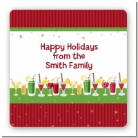 Holiday Cocktails - Square Personalized Christmas Sticker Labels