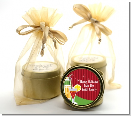 Holiday Cocktails - Christmas Gold Tin Candle Favors