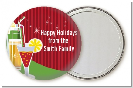 Holiday Cocktails - Personalized Christmas Pocket Mirror Favors