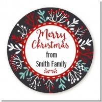 Holly Berries - Round Personalized Christmas Sticker Labels