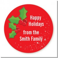Holly - Round Personalized Christmas Sticker Labels
