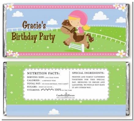 Horseback Riding - Personalized Birthday Party Candy Bar Wrappers