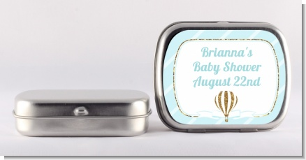 Hot Air Balloon Boy Gold Glitter - Personalized Baby Shower Mint Tins
