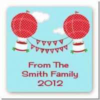 Hot Air Balloons - Square Personalized Christmas Sticker Labels