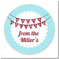 Hot Air Balloons - Round Personalized Christmas Sticker Labels