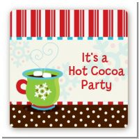 Hot Cocoa Party - Square Personalized Christmas Sticker Labels