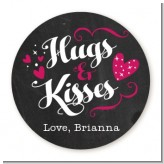 Hugs and Kisses - Round Personalized Valentines Day Sticker Labels