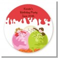 Ice Cream - Round Personalized Birthday Party Sticker Labels thumbnail