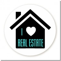 I Love Real Estate - Round Personalized Real Estate Sticker Labels