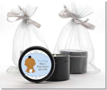 It's A Boy Chevron African American - Baby Shower Black Candle Tin Favors