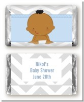 It's A Boy Chevron African American - Personalized Baby Shower Mini Candy Bar Wrappers
