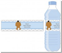 It's A Boy Chevron African American - Personalized Baby Shower Water Bottle Labels