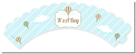 Hot Air Balloon Boy Gold Glitter - Baby Shower Cupcake Wrappers