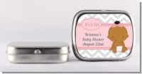 It's A Girl Chevron African American - Personalized Baby Shower Mint Tins