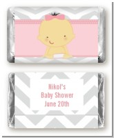 It's A Girl Chevron Asian - Personalized Baby Shower Mini Candy Bar Wrappers