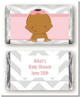 It's A Girl Chevron African American - Personalized Baby Shower Mini Candy Bar Wrappers
