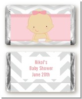 It's A Girl Chevron - Personalized Baby Shower Mini Candy Bar Wrappers