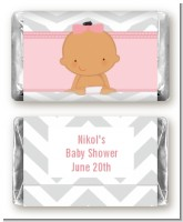 It's A Girl Chevron Hispanic - Personalized Baby Shower Mini Candy Bar Wrappers