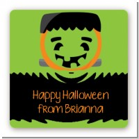 Jack O Lantern Frankenstein - Square Personalized Halloween Sticker Labels