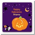 Jack O Lantern - Square Personalized Halloween Sticker Labels thumbnail