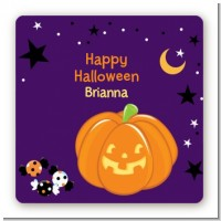 Jack O Lantern - Square Personalized Halloween Sticker Labels