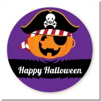 Jack O Lantern Pirate - Round Personalized Halloween Sticker Labels