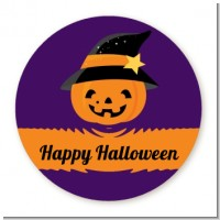 Jack O Lantern Witch - Round Personalized Halloween Sticker Labels
