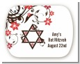 Jewish Star Of David Floral Blossom - Personalized Bar / Bat Mitzvah Rounded Corner Stickers thumbnail