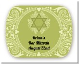 Jewish Star of David Sage Green - Personalized Bar / Bat Mitzvah Rounded Corner Stickers