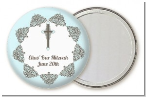 Jewish Star of David Blue & Brown - Personalized Bar / Bat Mitzvah Pocket Mirror Favors