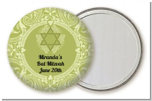 Jewish Star of David Sage Green - Personalized Bar / Bat Mitzvah Pocket Mirror Favors
