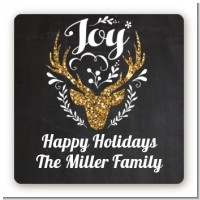 Joy Oh Deer Gold Glitter - Square Personalized Christmas Sticker Labels
