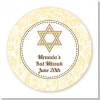 Jewish Star of David Yellow & Brown - Round Personalized Bar / Bat Mitzvah Sticker Labels