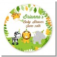 Jungle Party - Round Personalized Baby Shower Sticker Labels thumbnail