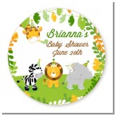 Jungle Party - Round Personalized Baby Shower Sticker Labels