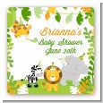 Jungle Party - Square Personalized Baby Shower Sticker Labels thumbnail