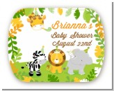 Jungle Party - Personalized Baby Shower Rounded Corner Stickers