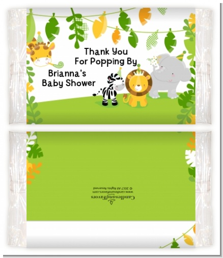Jungle Party - Personalized Popcorn Wrapper Baby Shower Favors