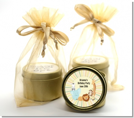 Jungle Safari Party - Baby Shower Gold Tin Candle Favors