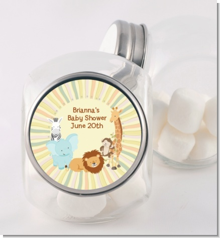 Jungle Safari Party - Personalized Baby Shower Candy Jar