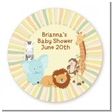 Jungle Safari Party - Round Personalized Baby Shower Sticker Labels