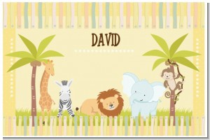 Jungle Safari Party - Personalized Baby Shower Placemats