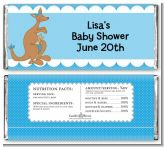 Kangaroo Blue - Personalized Baby Shower Candy Bar Wrappers