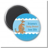 Kangaroo Blue - Personalized Baby Shower Magnet Favors