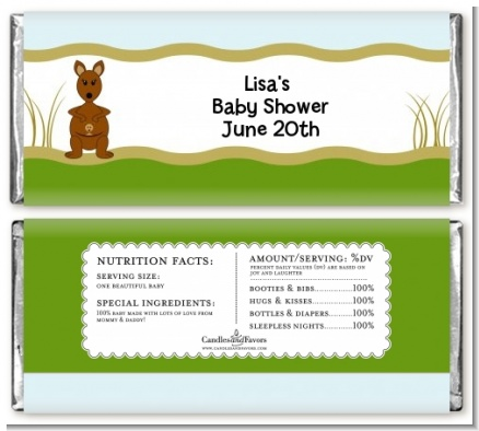 Kangaroo - Personalized Baby Shower Candy Bar Wrappers