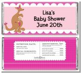 Kangaroo Pink - Personalized Baby Shower Candy Bar Wrappers